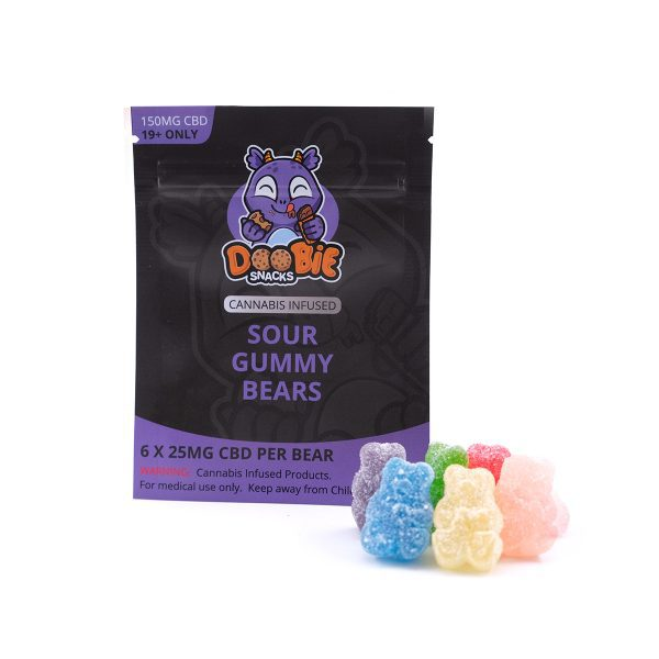 CBD Sour Gummy Bears 150MG CBD By Doobie Snacks