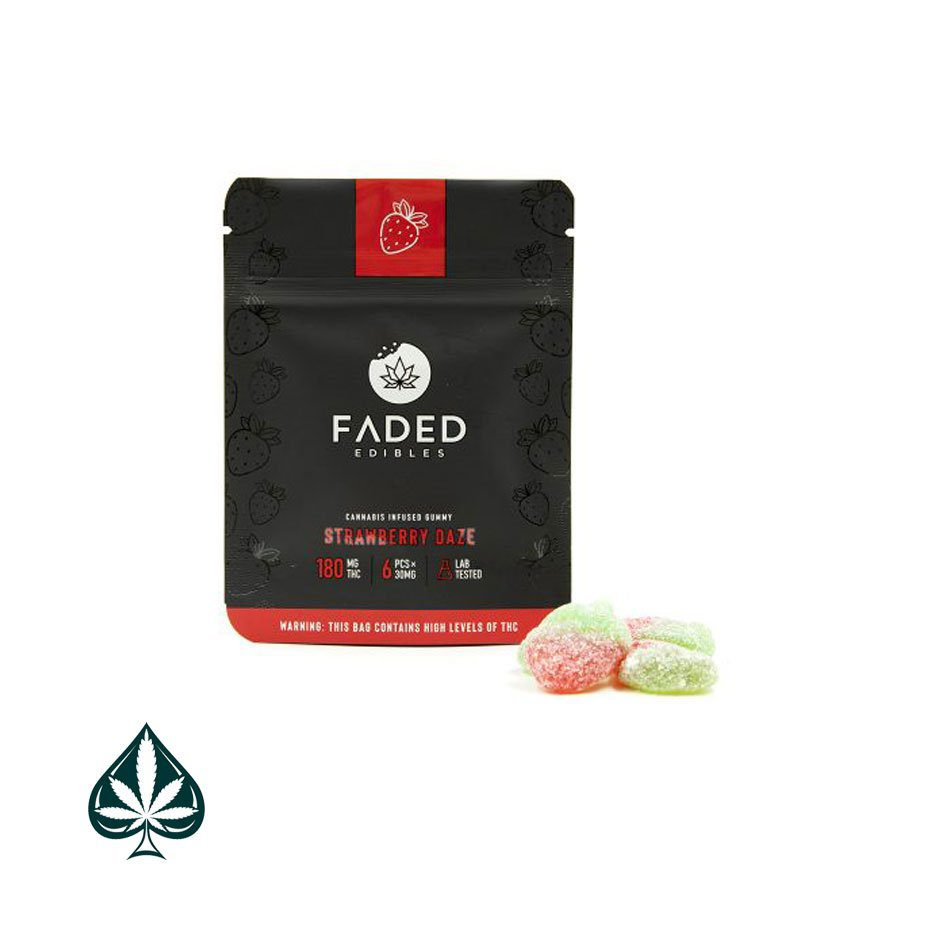 Strawberry 180mg Thc Daze By Faded Edibles-Faded Edibles Strawberry Daze