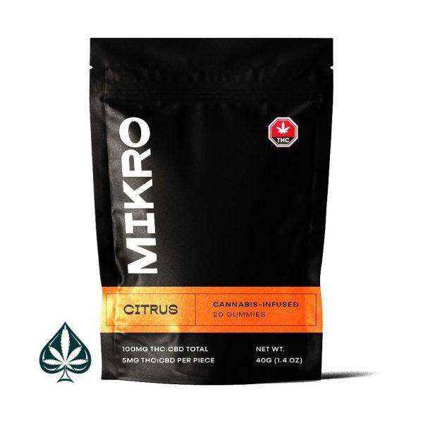 Citrus 1:1 THC:CBD Gummies By Mikro (50MG THC: 50MG CBD) 100MG Total