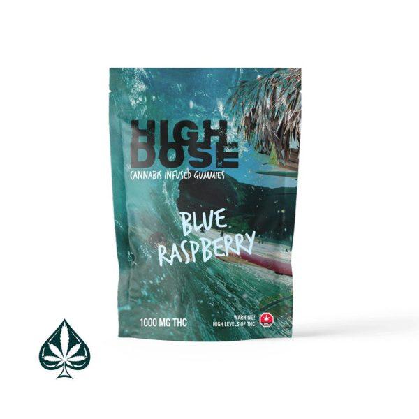 blue raspberry high dose cannabis gummies