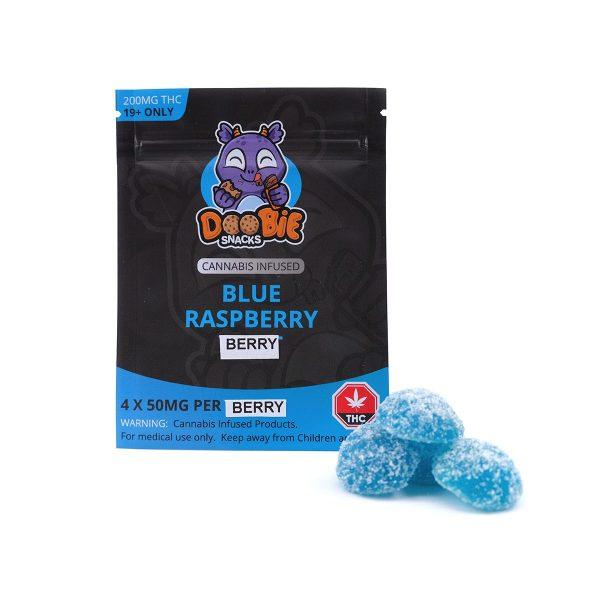 Blue Raspberry Berry 200MG THC Gummy By Doobie Snacks