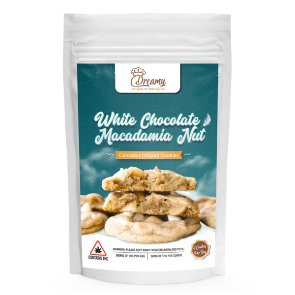 Buy White Chocolate Macadamia Nut Canna Cookies By Dreamy Delite